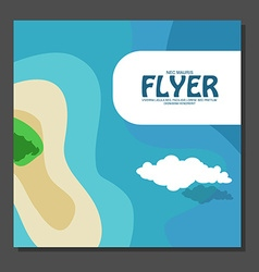 Flyer in flat style with a map of the island to vector image vector image