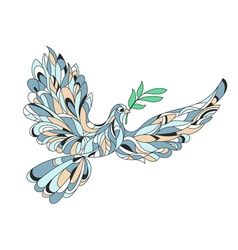 hand drawn of peace dove with olive branch High vector image vector image