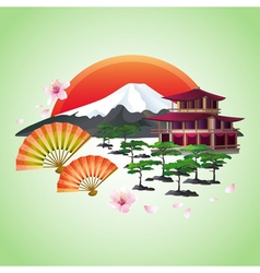 Japanese abstract background with fans mountain vector