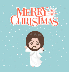 Jesus christ in white clothes and merry christmas vector