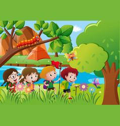 kids hiking along the river vector image