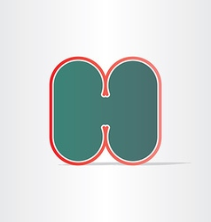 Letter h green icon design vector