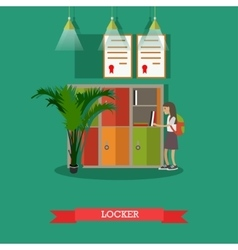 locker and schoolgirl in vector image