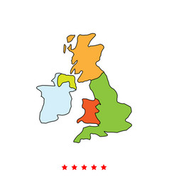 map of united kingdom icon different color vector image