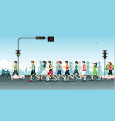 marathon in the city vector image vector image