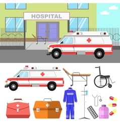 Medical with hospital and ambulance vector image