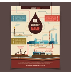 Oil company corporate poster vector