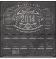 Ornate vintage calendar of 2014 year vector
