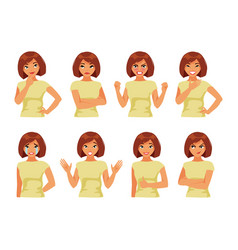 set of girl with different emotions vector image vector image
