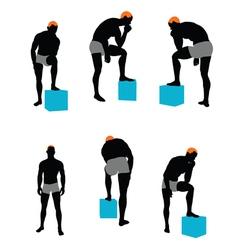 Set of men silhouette vector image