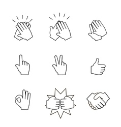 Set of two hands icons handshake clapping vector