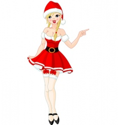 sexy girl in Santa suit vector image
