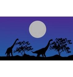Silhouette of brachiosaurus at the night vector