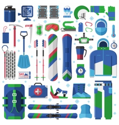 Snowboard and Ski Equipment Set vector image