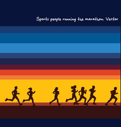 sports people running marathon silhouettes and vector image