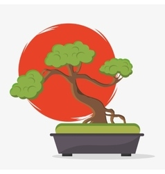 Sun and bonsai tree of japan design vector