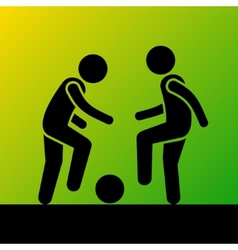 Two Football Players with Ball Icon vector image vector image