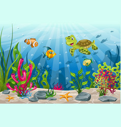 Underwater landscape with turtle and fish vector