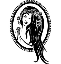 vignette girl in a wreath vector image vector image