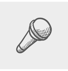Wireless microphone sketch icon vector