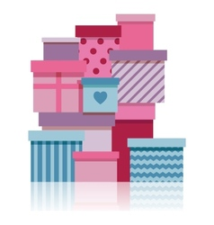 Gift boxes pile vector
