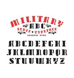 Serif stencil plate font vector image