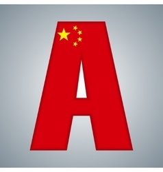 China flag in the form of letters vector