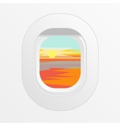 Airplane window outdoor sun and clouds view vector