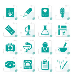 Stylized healthcare and medicine icons vector