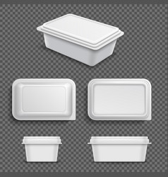 White blank plastic food container for margarine vector
