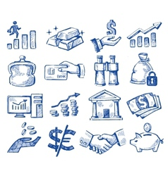 hand drawn money and business vector image