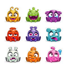 Funny cartoon colorful glossy aliens set vector