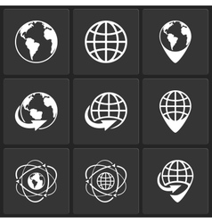 Globe earth world icons vector