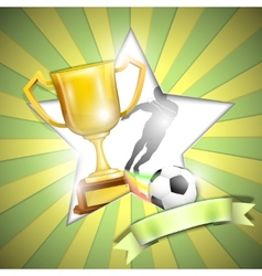 Soccer poster with trophy cup vector