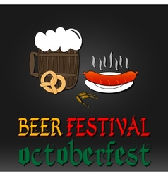 Oktoberfest greeting card Poster with mug of beer vector image