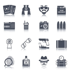 Spy gadgets black icons set vector