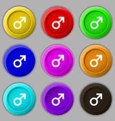 Male sex icon sign symbol on nine round colourful vector