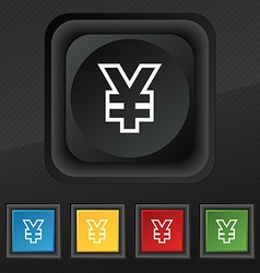 Yen jpy icon symbol set of five colorful stylish vector