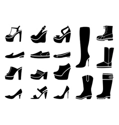 Woman shoes icons set vector