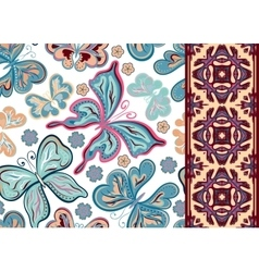 Seamless pattern with colorful vintage butterflies vector image