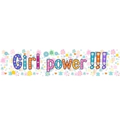 Girl power greeting banner vector
