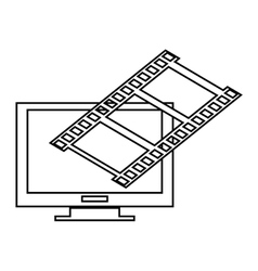 Computer monitor and film roll vector