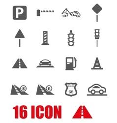 Grey road icon set vector
