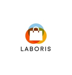 Abstract online shopping bag logo Shop sale vector image