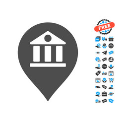 Bank marker icon with free bonus vector