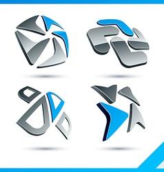 Blue 3d company signs vector