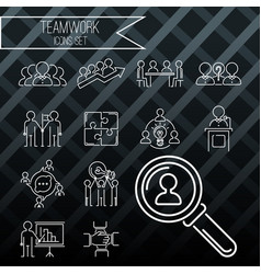 Business teamwork teambuilding thin line icons vector