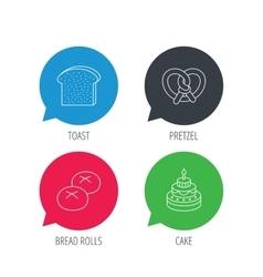 Cake pretzel and bread rolls icons vector