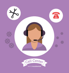 Call center woman consulting client vector
