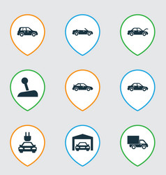 Car icons set collection of plug repairing vector